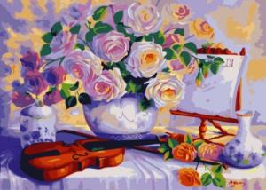 Картина по номерам  Букет со скрипкой худ.Триша Хардвик