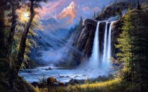 Картина по номерам 40х50. Медведи у водопада