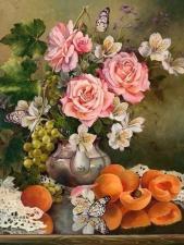 Картина по номерам 40х50 Натюрморт с персиками и бабочками худ.Ирина Романова-Лоренц