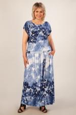Платье Анджелина-2 Цвет:джинс/цветы синие