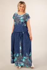 Платье Анджелина Цвет:джинс/цветы бирюзовые