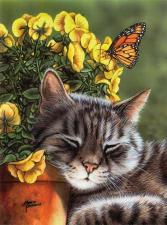 Картина по номерам 40х50 GX 8715 Кот в цветах.