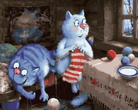 Картина по номерам 40х50 см Помощник.(синие коты)