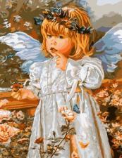 Картина по номерам 40х50 Ангел с ромашкой