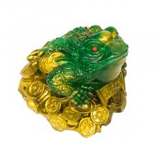 Копилка Жаба на монетах  зеленая.