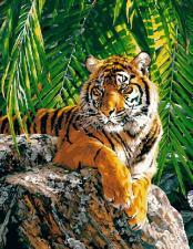 "Картина по номерам 40Х50 на дереве ""Тигр"""