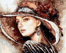 """Картина по номерам 40Х50 """"Незнакомка в шляпе"""" худ.Эльжбета Брожек"""