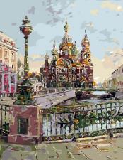Картина по номерам 40Х50 Театральный мост Спб.