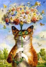 Картина по номера 40Х50 Кот под зонтом.