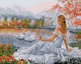 Картина 40Х50 Девушка у озера.