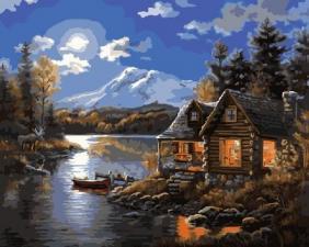Картина по номерам 40Х50 Дом у реки.