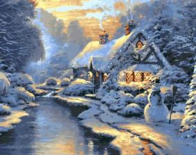 Картина по номерам  40х50 Зима.