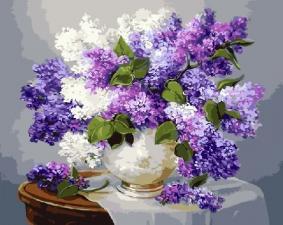 Картина по номерам 40Хна50 Сирень в белой вазе.