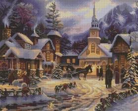 Алмазная мозаика 40Х50см Зимний вечер.