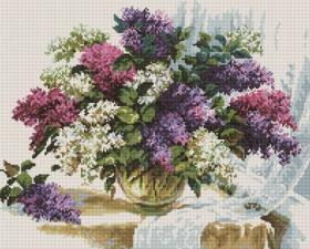 Алмазная мозаика 40Х50см Сирень в вазе.