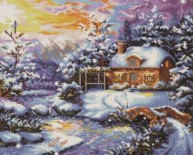 Алмазная мозаика 40Х50см Зимнее утро.