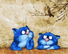 Картина по номерам 40Х50см Синие коты.