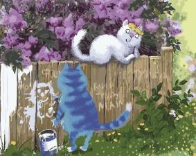 Картина по номерам 40Х50см Признание для Мурки (синие коты)