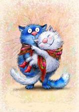Набор для вышивки крестом 20Х25см Синие коты.