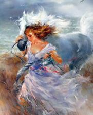 Картина по номерам 40Х50 Девушка с лошадью.