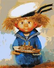 Картина по номерам 40Х50 Ангел-морячок.
