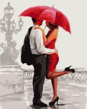 Картина по номерам 40Х50 Парочка под красным зонтом.