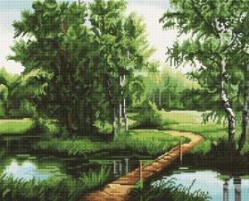 Алмазная мозаика 40Х50 Мостик через реку.